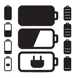 Flat Design Black Battery Life Icons Set Isolated vector