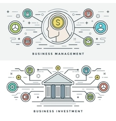 Flat line Investment and Business Management vector