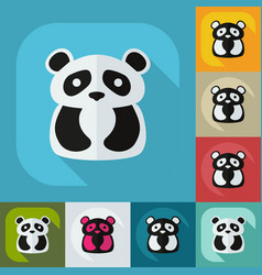 Flat modern design with shadow icons pandas vector