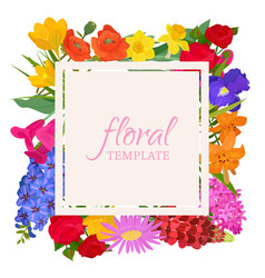 floral template for flower shops or invitation vector image