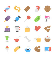 food icons flat set vector image
