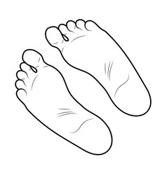 Foot print icon outline design isolated on white vector
