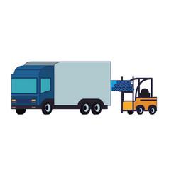 Forklift loading pvc pipe in cargo truck blue vector