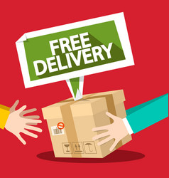 Free delivery symbol with parcel and hands flat vector