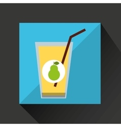 Fresh juice pear and cup glass straw design vector