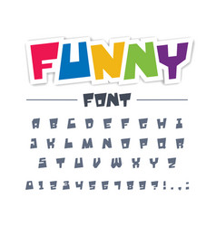 Funny cute child font type comic cartoon fun vector
