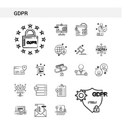 Gdpr hand drawn icon set style isolated on white vector