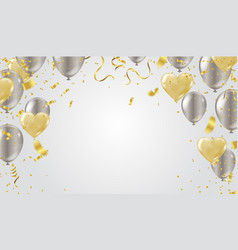 gold heart balloon and balloon silver valentines vector image