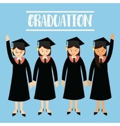 graduation university student girls wear cap hat vector image