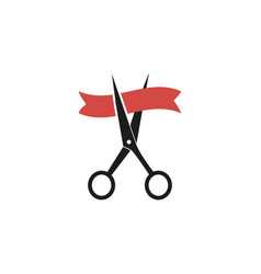 Grant opening icon with ribbon red colored flat vector