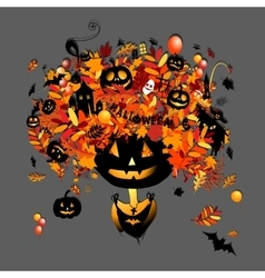 Halloween holiday design pumpkin head vector image