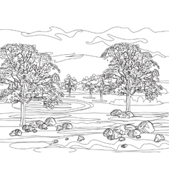 Hand draw decorative landscape trees and stones vector image
