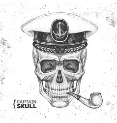 hand drawing hipster skull with captains cap vector image