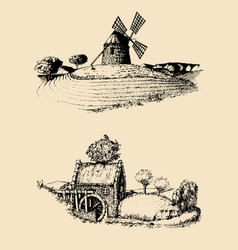 hand drawn old rustic mills images rural vector image