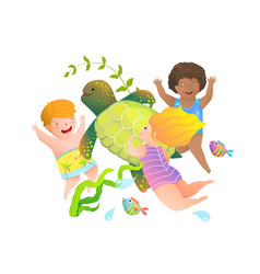 Happy children boys and girls swimming and diving vector