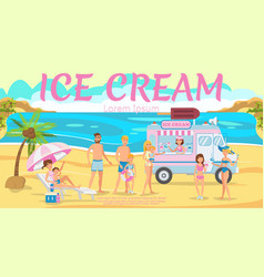 ice cream truck on beach vector image