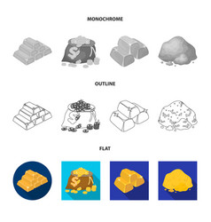 Isolated object and gold icon collection of vector