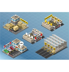 Isometric Set of Storage Buildings vector