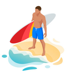 isometric surfer male surfing on summer vacation vector image
