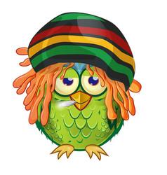 Jamaican owl mascot cartoon isolated on white vector