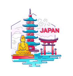 japan- modern line travel vector image