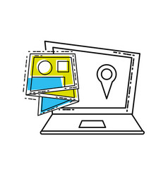 Laptop computer with map guide vector