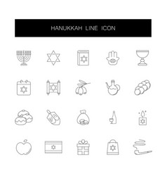 Line icons set hanukkah pack vector