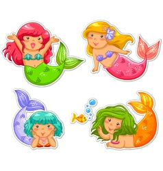 Little mermaids vector