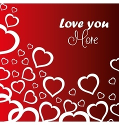 love you more hearts card icon vector image