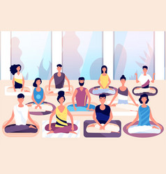 meditation group people sit in lotus posture and vector image