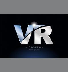 Metal blue alphabet letter vr v r logo company vector