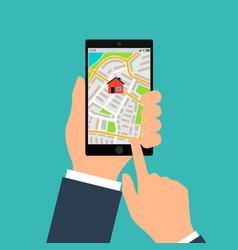 mobile gps navigation on mobile phone hand holds vector image