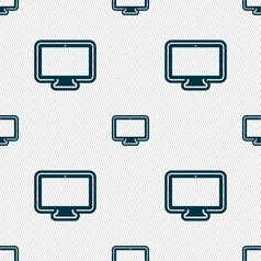 monitor icon sign Seamless pattern with geometric vector image