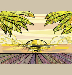 paradise beach and palm trees summer sunset vector image