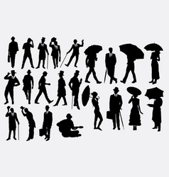 people with hat and umbrella vector image