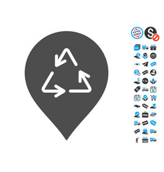 recycling marker icon with free bonus vector image vector image