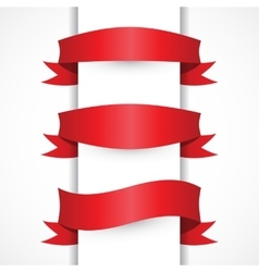 Red ribbon simple set Arch flag shapes vector image