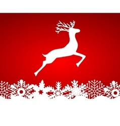 Reindeer on red background with snowflakes vector image