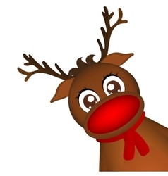 Reindeer peeking sideways on a white background vector