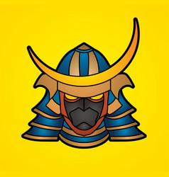 Samurai mask samurai helmet head weapon vector