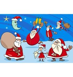 santa clauses group cartoon vector image