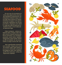 seafood menu fish and lobster crab and prawn or vector image