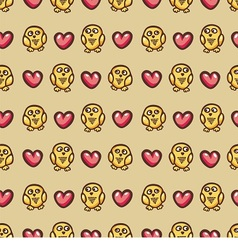 seamless texture with owls and hearts vector image