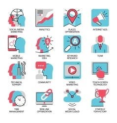 seo marketing flat line icons vector image