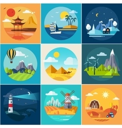 Set different landscapes in flat style vector