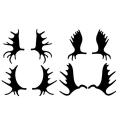 Set of different moose antlers vector