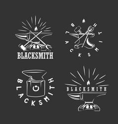 set vintage blacksmith labels design elements vector image