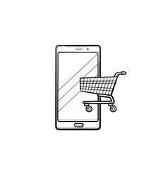 shopping on smart phone hand drawn outline doodle vector image