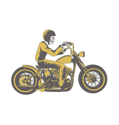 skull ride classic motorcycle clip art for vector image