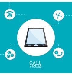 Smartphone call center design vector